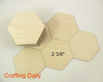 """Wood Hexagons Laser Cut Tiles Game Pieces Blanks Shapes 2 3/8"""" Side/Side 2 3/4"""" Point/Point - 25 Pieces"""