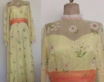 1970's Yellow Chiffon Flocked Flower Child Prom Dress Floral Size Medium by Maeberry Vintage