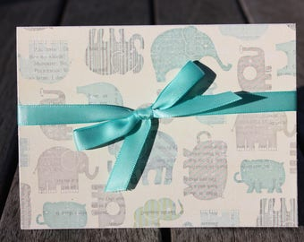 Belated Birthday Card, Elephant Belated Birthday Card, Elephant Themed Belated Birthday Card, Elephant Themed Card