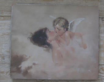 Vintage oil painting, cherub, angel, romantic, dreamy, muted colors, woman, Shabby Chic