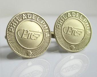 PHILADELPHIA Transit Token Cuff Links - Vintage Repurposed Brass Coins