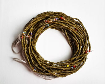 yellow black stripes & glitter  African waist beads