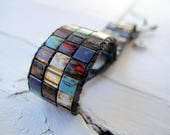 RESERVED Thick Bohemian Cuff Bracelet, Miyuki Tila Glass Bracelet, Southwestern Colors Wristband