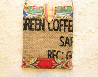 Upcycled Coffee Sack Paisley Eco Friendly Crossbody Bag