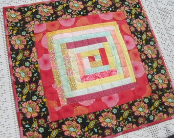 Spring Summer Log Cabin Quilted Table Topper