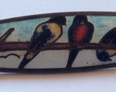 Sale Vintage Guilloche Enamel Cloisonne Bird Brooch Three Birds C Clasp