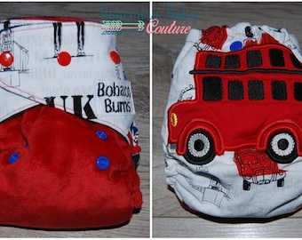OS One Size UK London Bus applique' AI2 All in Two Cloth Diaper