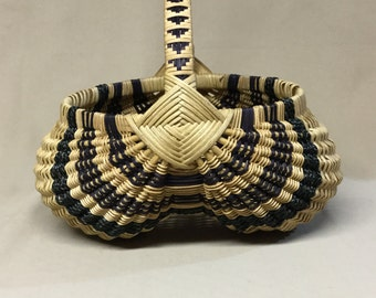 Round Hand Woven Egg Basket with Black Accent Weaving, Fancy Wrapped Handle