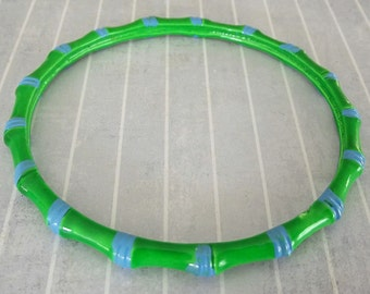 Vintage Metal Bamboo Bangle, Neon Green Blue Bracelet, 1960s Enamel Jewelry, Fun Accessory