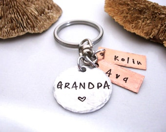 Grandpa Keychain, Grandpa Gift, Christmas Gift for Grandpa, Name of Grandkids, Personalized for Grandpa
