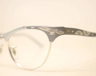Unused Gray Aluminum cat eye eyeglasses vintage cat eye glasses frames Cateye frames NOS