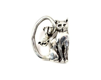 Cat Jewelry For Women, Sterling Cat Jewelry, Sterling Cat And Mouse Jewelry, Robin Wade Jewelry, Cat Caidyn And Mouse Max Are Friends, 2326