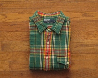mens Polo heavy weight flannel work shirt