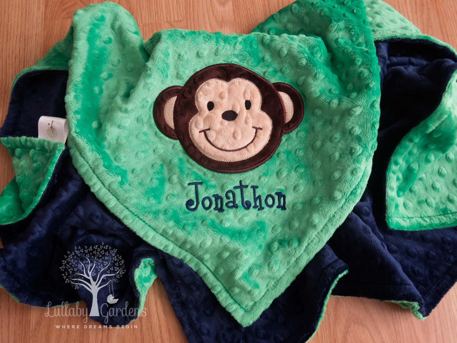 Monkey personalized minky baby blanket personalized minky zoom negle Image collections