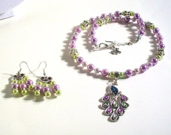 Jeweled Peacock Pendant, Lavender & Green Pearl Necklace Set, Peacock Jewelry, 2 Piece Set