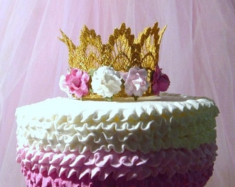 Gold Crown Cake Topper - Baby Shower Cake Topper - Bridal Shower Cake Topper - Lace - Silver - Your Choice of Colors