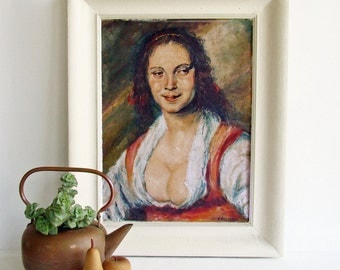 Vintage Oil Painting, Gypsy Girl, Portrait Painting, Boho Decor, Gypsy Woman, Framed and Signed, Bohemian Art, Frans Halsof Copy