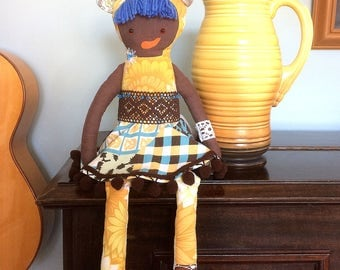 Belinda Bearcub Afro Rag Doll  in  funky 70s  brown and yellow Vintage Fabrics , a Forest Friend by Witty Dawn
