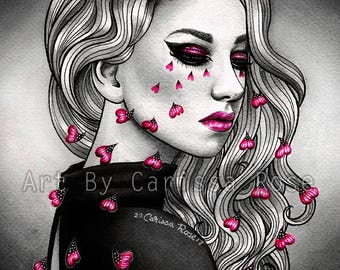 Tired Eyes Signed Art Print  - 5x7, 8x10, or 11x14 in Pretty Lowbrow Black White and Pink Sad Girl Crying Flower Pedals