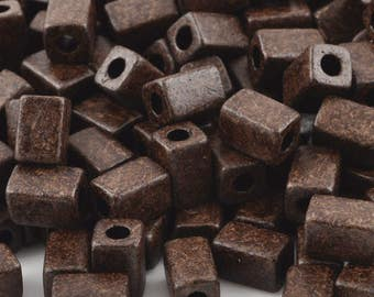 Ceramic Beads-8x5mm Rectangle Tube-Burnt Umber-Quantity 25