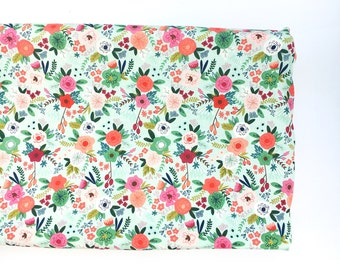 Crib Sheet or Changing pad Cover- MINT TRENDY FLORAL- floral crib sheet- floral changing pad cover- girl baby bedding- girl nursery