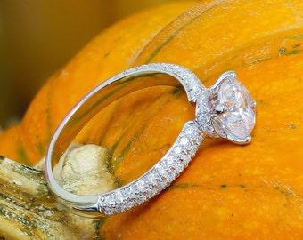 GIA I-SI1 14k white gold round cut diamond engagement ring, prong set, anniversary, wedding, propose, bridal, promise, 1.65ct