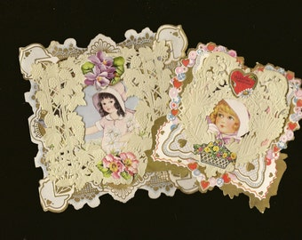 Pair of Vintage Whitney Valentine's Day Cards Die Cuts and Embellished with Lace and Seals – Charming Collectible Valentines