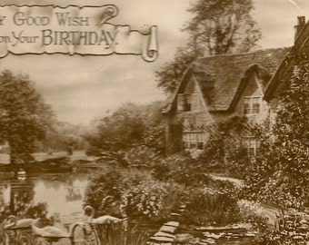 Country Cottage and Swans on the Lake Peaceful and Charming Black and White Rotary Photo Vintage Birthday Postcard With Preprinted Greeting