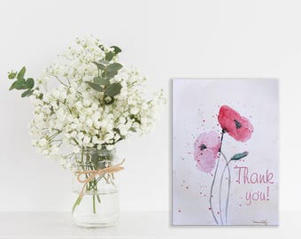 Thank you card Art Print Red Poppies Printable Cards Art, Poppies Watercolor Original Art, Abstract Art, Instant Download, Digital File,