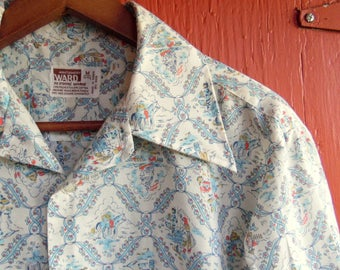 70s Montgomery Ward Folk Print Sky Blue and White All Over Farming Work Dress Hippie Boho Button Up M