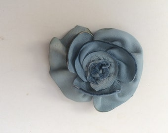 blue leather rose flower hatpin brooch by Tuscada. Ready to ship.