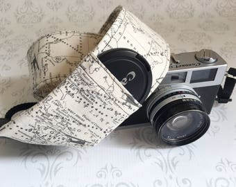 DSLR Camera Strap, 2 Lens Cap Pockets, Padded, Travel Photographer, Nikon or Canon Camera, Binoculars Strap, Photographer Gift - Maps