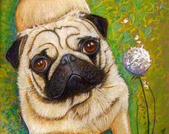 Pug art painting art dog pug dandelion Original oil pastel Painting pugs dog art  pet portrait