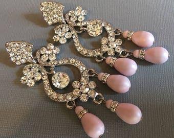 Long Blush Bridal Earrings in Pastel Pink with Rhinestone Chandelier Earrings Swarovski Teardrop pearls  2.75 inches wedding earrings