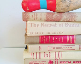 Beige & Red Books Instant Library Collection Decorative Books Photography Props Neutral Tan Vintage Book Set