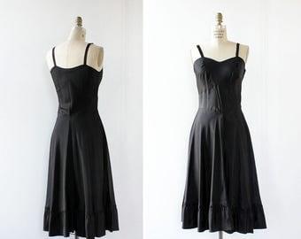 Black Slip Dress S • 50s Lingerie • Vintage Slip Dress • Bias Cut Dress • Black Midi Dress • 1950s Dress • Vintage Lingerie | D452
