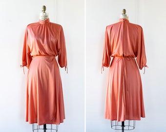 70s Disco Dress XS/S • Coral Dress • Slit Balloon Sleeve Dress • Flowy Dress • Flare Dress • Vintage Midi Dress • High Neck Dress | D698