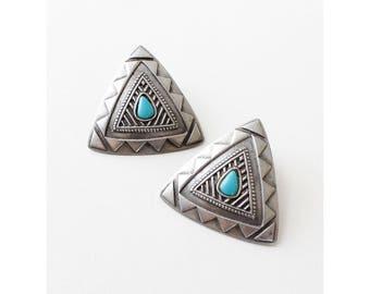 Southwest Earrings • 80s Earrings • Turquoise Stud Earrings • Southwestern Earrings • Statement Stud Earrings | E266
