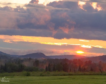 Hazy Summer Sunset over the Green Mountains Print