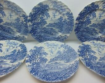Vintage Ridgway Ironstone Dinner Plates, Blue Transferware in Meadowsweet Pattern