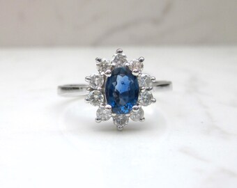 Estate Effy Diamond and Blue Sapphire Alternate Engagement Halo Ring set in 14k Solid White Gold, Size 8.5