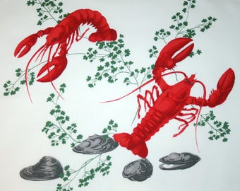 Rare Pristine Lobsters Wilendur Vintage Tablecloth Piece for Pillow or Projects - 18 x 16 Inches, Bright Crisp Colors, Excellent Condition