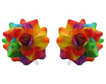 1 Pair Mini Colorful Rose flower Hair Clip
