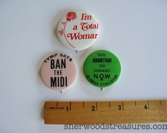 3 Women's Rights Cause Buttons 1970's Now ERA Feminist Choice Vintage Orig 70's  Pinback Buttons Equality
