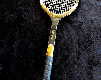 Vintage Wilson Advantage  Wood Tennis Racquet  Leather Grip Excellent Condition Strata Bow
