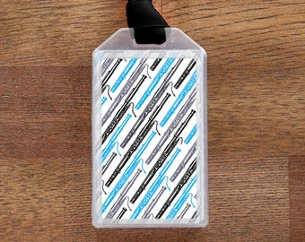 Bassoon Instrument Case ID Tag or Luggage Tag for Musicians - Blue and Black