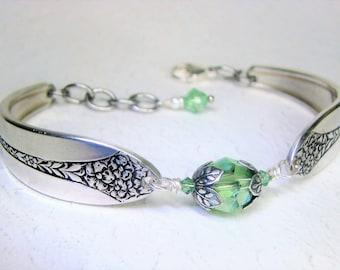 Customizable Spoon Bracelet, Peridot Crystals, Spoon Jewelry - 'Princess Royal' 1930