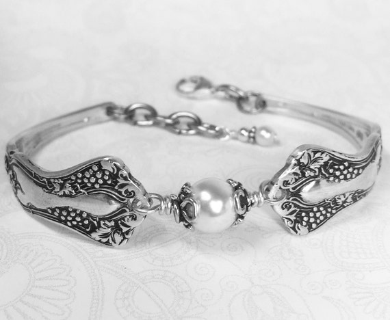 "Antique Spoon Bracelet, Demitasse Spoon Jewelry, White Pearl, ""Vintage Grapes"" 1904"