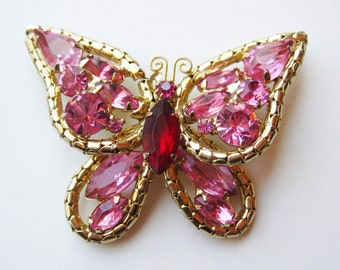 Vintage Pink Rhinestone Jeweled Gold Butterfly Brooch Pin
