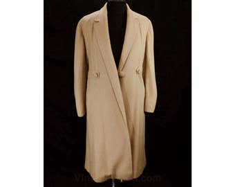 Size 16 Cashmere Coat with 1910s 20s Look - Large Tan Overcoat - Luxurious 100% Cashmere - 50s Tailored Retro Classic - Bust 44 - 48589